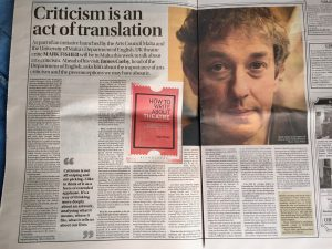 Mark Fisher, author of How to Write About Theatre, in the Times of Malta