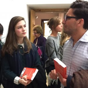 Guests clutch their copies of How to Write About Theatre after an event at the University of Malta